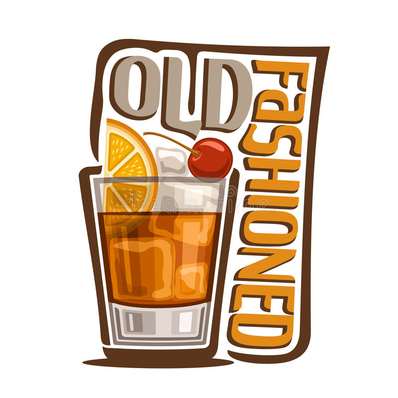 Cocktail Old Fashioned. Vector illustration of alcohol Cocktail Old Fashioned: glass with whiskey and ice cubes with title - old fashioned, classic long drink on royalty free illustration