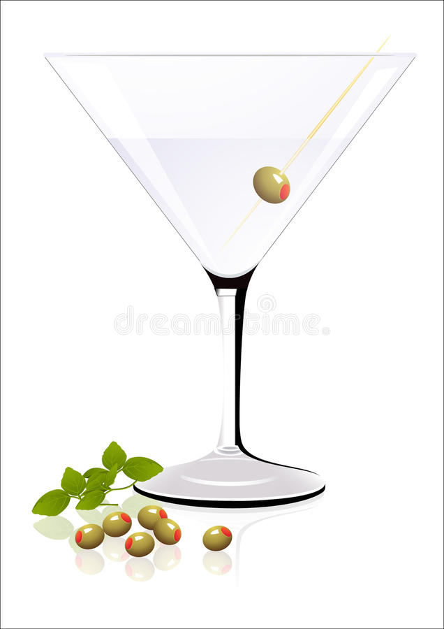 Download Cocktail with olives stock vector. Image of food, object - 12637346