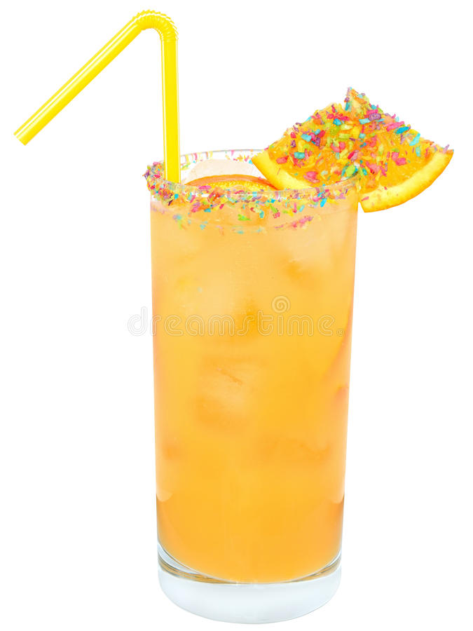 Cocktail with orange juice and ice cube decorated with multicolored coconut royalty free stock image