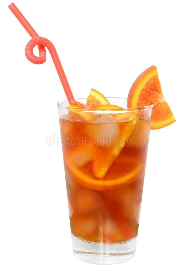 Cocktail with orange juice and ice cube stock image