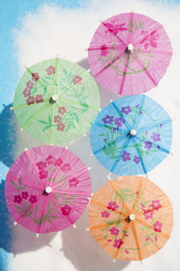 Cocktail paper umbrellas royalty free stock photography
