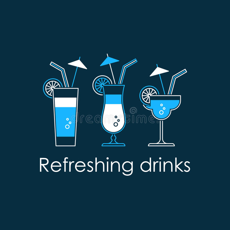 Cocktail party, alcohol drinks. Refreshing drinks, different cocktails, fresh juice, bar menu vector linear illustration royalty free illustration