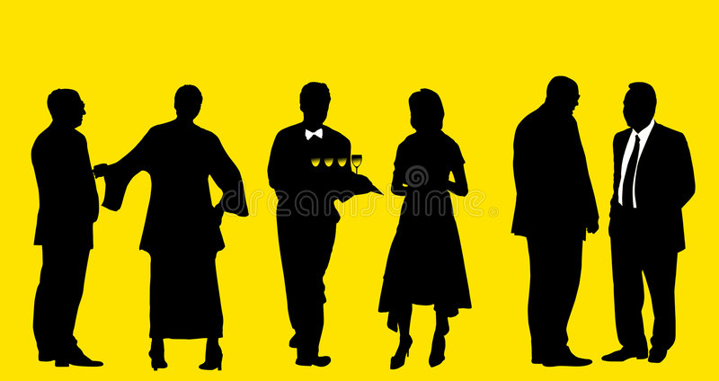 Cocktail on the party - all people with clipping path stock illustration