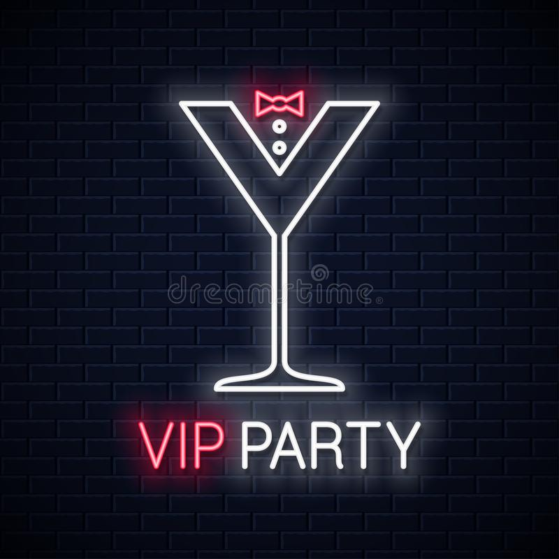 Free Cocktail Party Glass Neon Sign. Vip Party Neon Royalty Free Stock Photography - 142352547