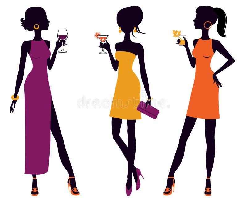 Cocktail party grils royalty-vrije illustratie