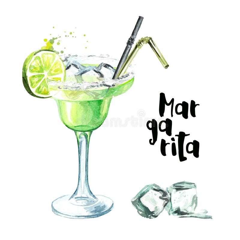 Cocktail party. Margarita cocktail with lime, ice cubes and salt. Watercolor hand drawn illustration, isolated on white background.  stock illustration
