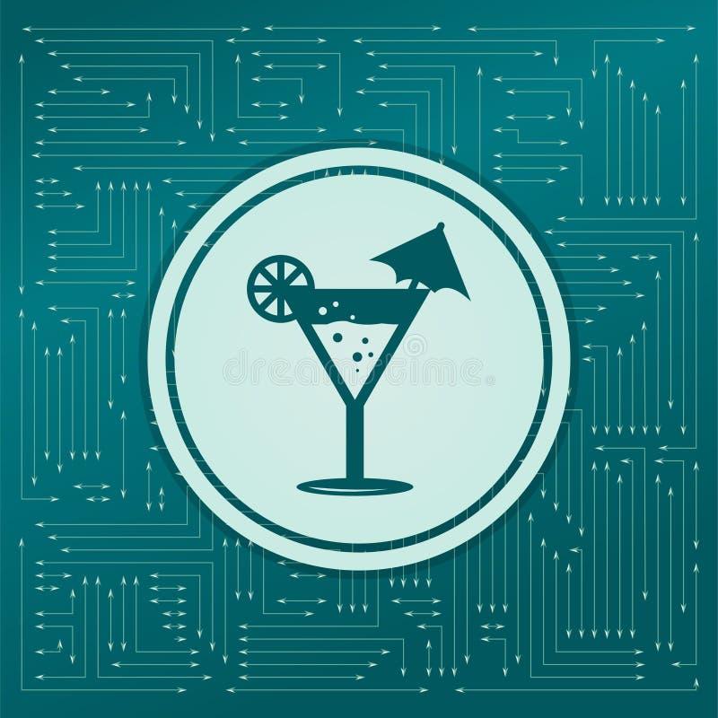 Cocktail party, martini-pictogram op een groene achtergrond, met pijlen in verschillende richtingen Het lijkt de elektronische ra stock illustratie
