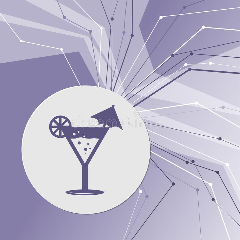 Cocktail party, martini-pictogram op purpere abstracte moderne achtergrond De lijnen in alle richtingen Met ruimte voor uw reclam royalty-vrije illustratie