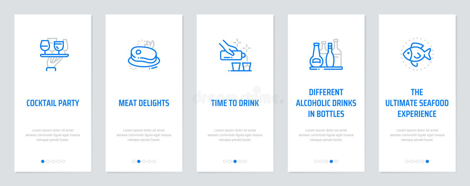Cocktail party, Meat Delights, Time to drink. Different alcoholic drinks in bottles, The ultimate seafood experience Vertical Cards with strong metaphors royalty free illustration