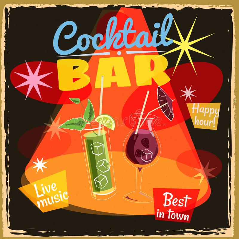 Cocktail party poster, bar, vintage, retro, vector, isolated royalty free illustration