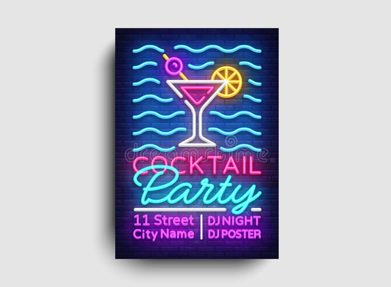 Cocktail party poster neon vector. Summer party design template, bright neon brochure, modern trend design, light banner royalty free illustration