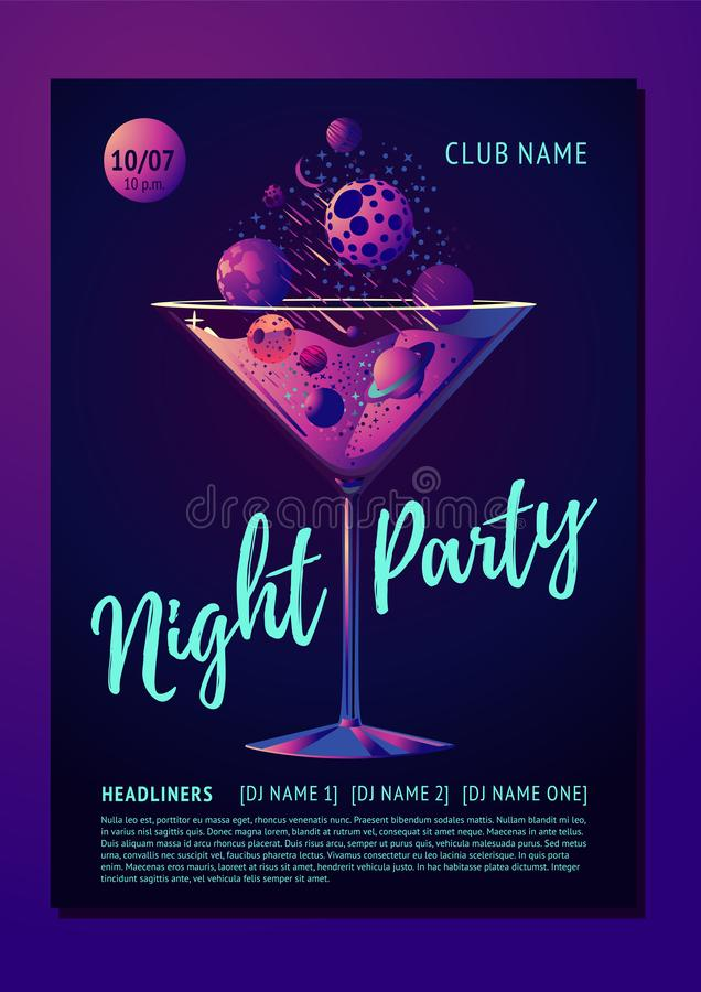 Cocktail party poster for a night club. Futuristic neon style illustration with planet and glass. Invitation template. royalty free illustration