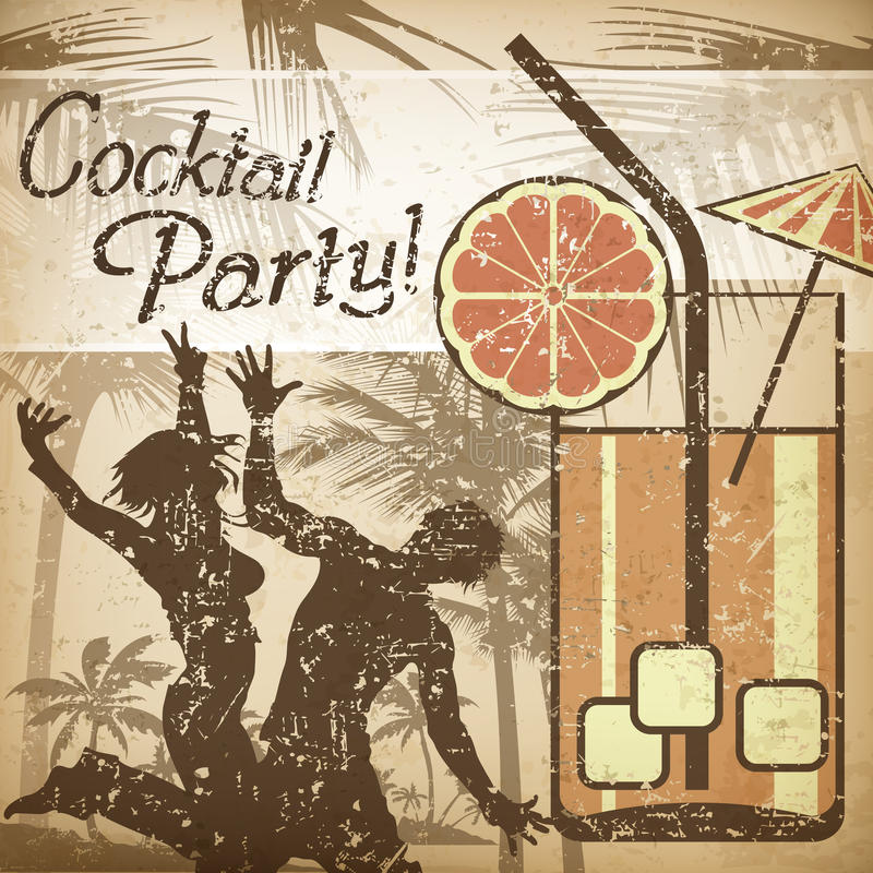 Cocktail party poster. In retro style & dancers, illustration vector illustration