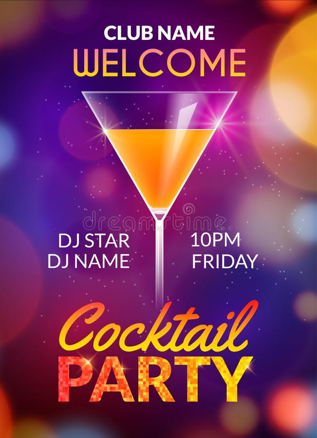Cocktail party poster vector backgorund with alcohol drinks. Cocktail party invitation flyer design royalty free illustration
