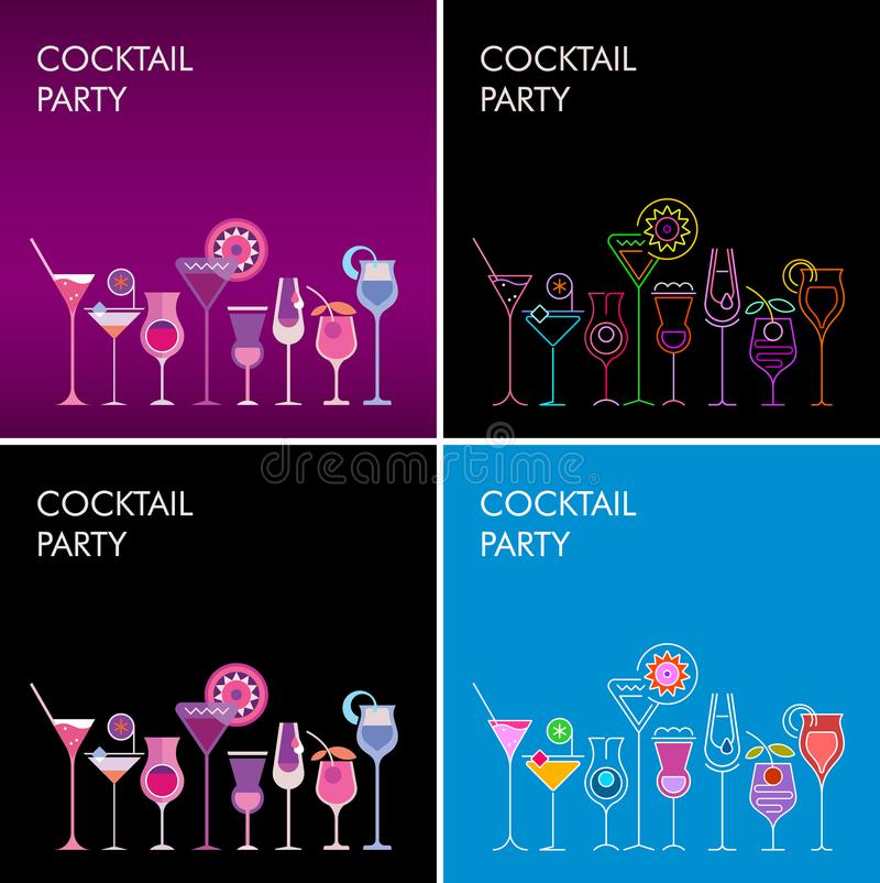 Cocktail party vectorachtergronden stock illustratie
