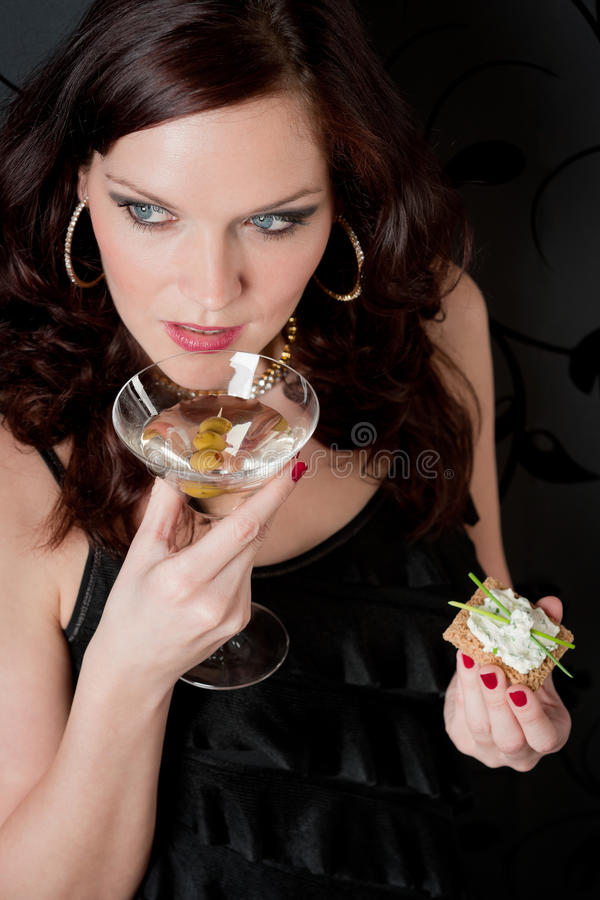 Download Cocktail Party Woman Evening Dress Hold Appetizer Stock Image - Image: 19125037