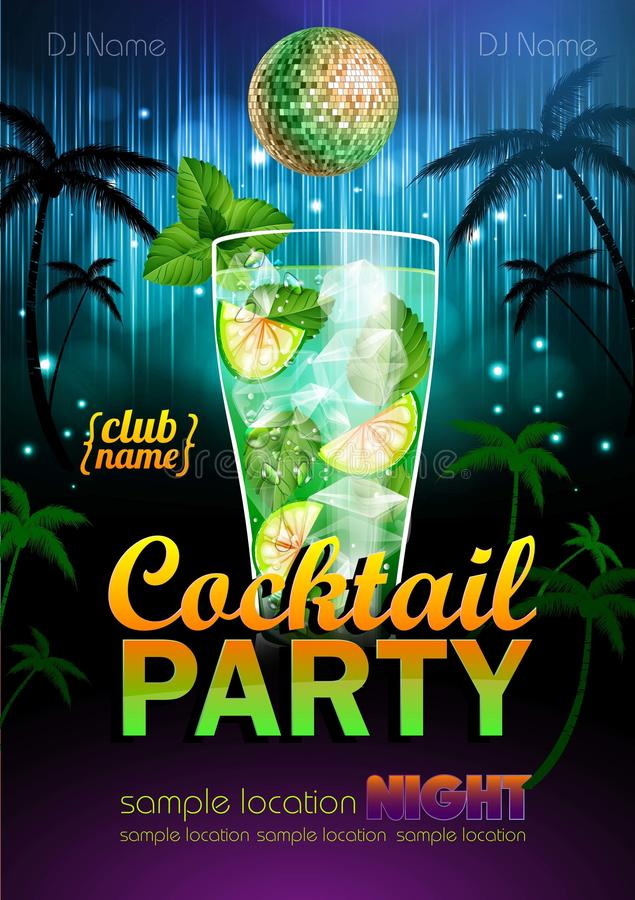 Cocktail partyaffiche stock illustratie