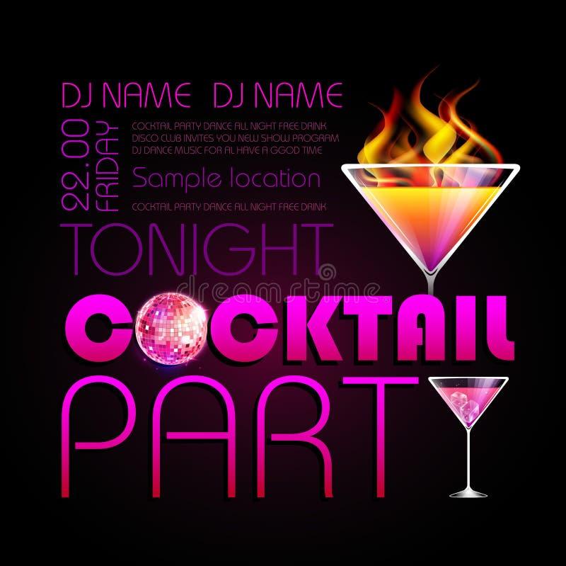 Cocktail partyaffiche stock illustratie