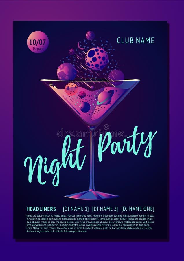 Cocktail partyaffiche voor een nachtclub De futuristische illustratie van de neonstijl met planeet en glas Exclusieve zwarte uitn royalty-vrije illustratie