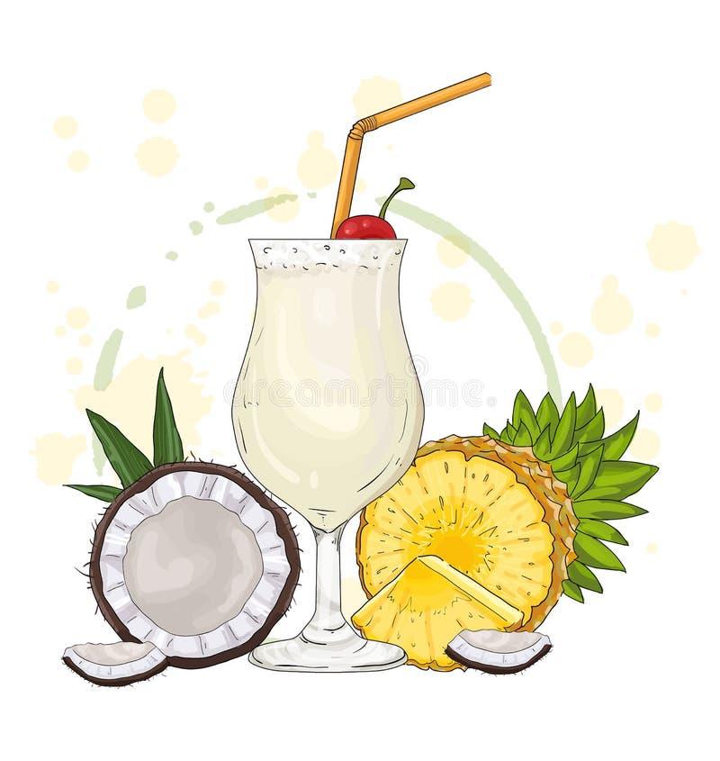 Cocktail Pina Colada con l'ananas e la noce di cocco illustrazione di stock