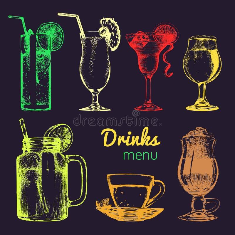 Cocktail, refrescos e vidros para a barra, restaurante, menu do café Ilustrações diferentes tiradas mão do vetor das bebidas ajus ilustração do vetor