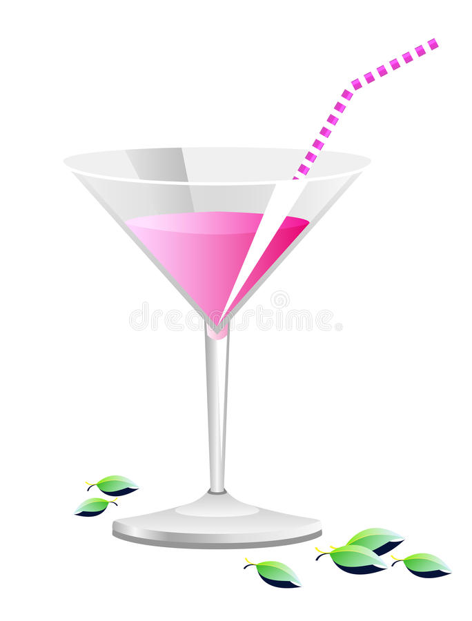 Cocktail rose illustration de vecteur