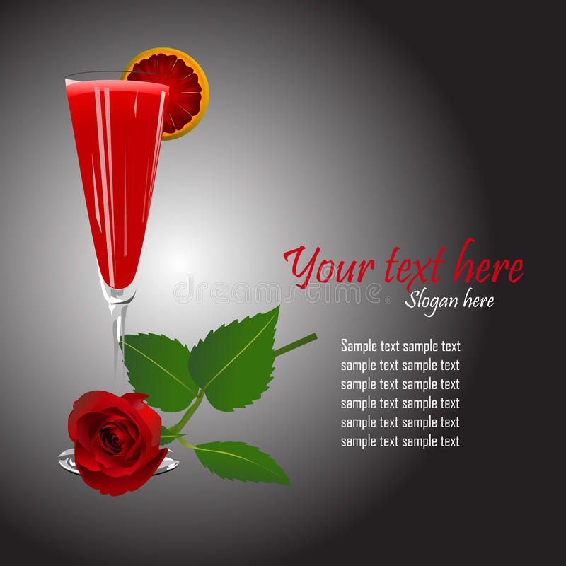 Download Cocktail And A Rose Template Vector Stock Vector - Image: 10107587