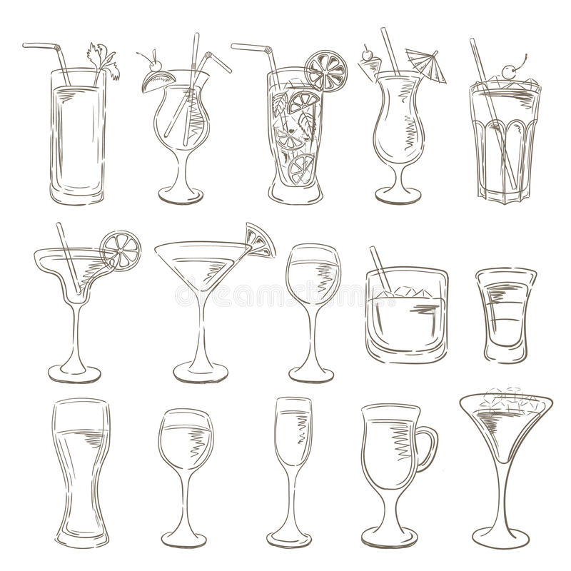 Cocktail-Sammlung Vektor-Satz Skizzen-Cocktails und Alkohol vektor abbildung