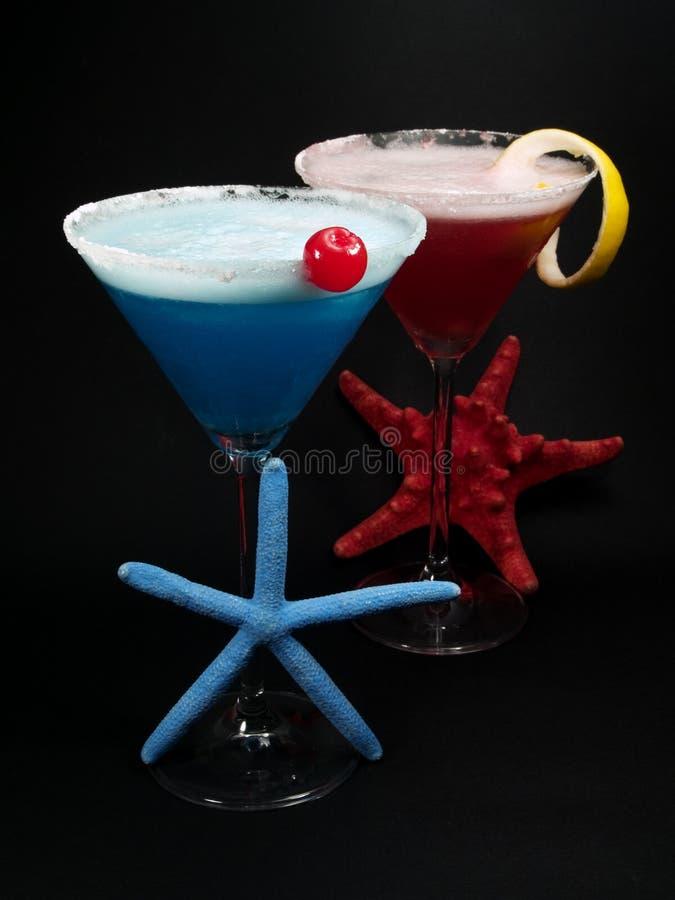 Cocktail-Sammlungs-- blaue und rosa Damen stockfoto