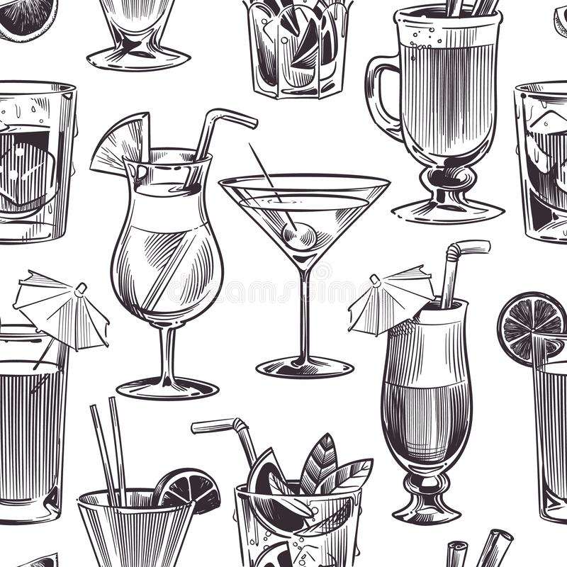 Cocktail seamless pattern. Hand drawn cocktails and alcohols drink with different wineglasses, bar menu. Vector texture stock illustration