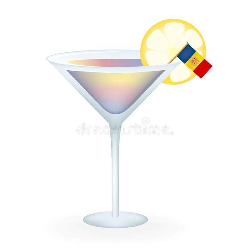 Andorra cocktail. Cocktail served with a lemon slice and the flag of Andorra stock illustration