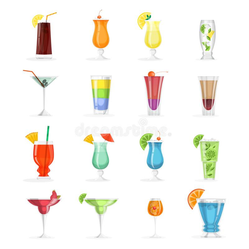 Cocktail set. Collection of alcohol drink in glass. Margarita and cosmopolitan. mojito. Tropical summer beverage. Vector illustration in cartoon style royalty free illustration