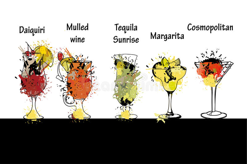Cocktail set with name. Template for cocktail menu. royalty free illustration