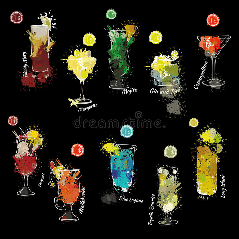 Cocktail set with price. Template for cocktail menu. Alcohol, Summer drinks. Spray, spot watercolor effect. royalty free illustration