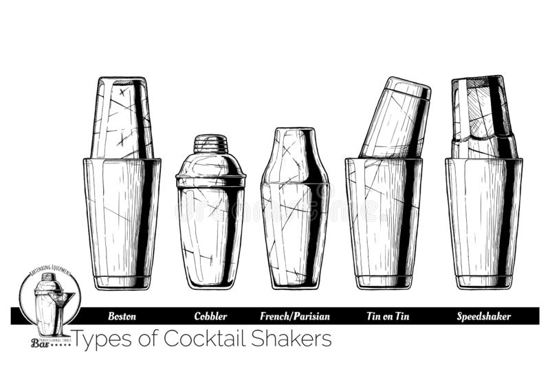 Cocktail shakers types royalty free illustration