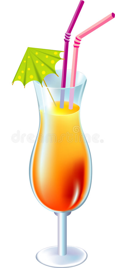 Download Cocktail With Small Umbrella And Straw Stock Vector - Image: 3529258