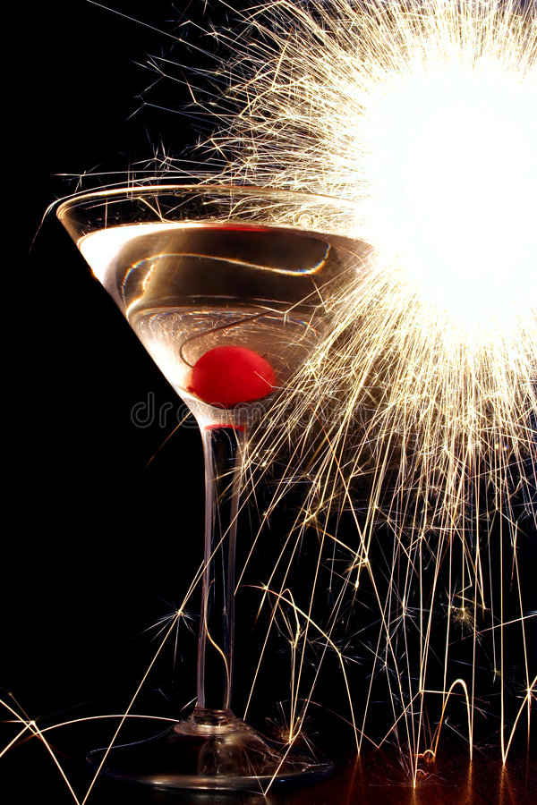 Cocktail with Sparkler stock images