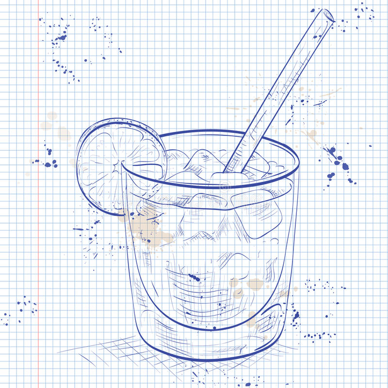 Cocktail Spritz on a notebook page royalty free illustration