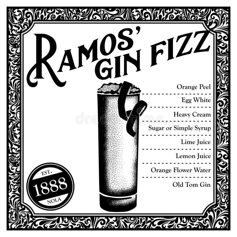 Cocktail storico di New Orleans Ramos Gin Fizz illustrazione di stock