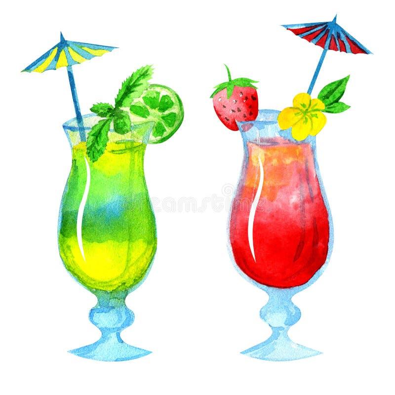 Cocktail su un fondo bianco illustrazione di stock