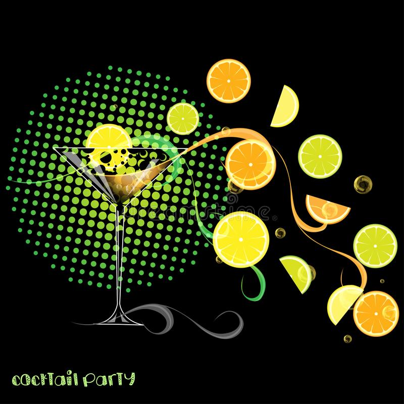 Cocktail sur le noir illustration stock