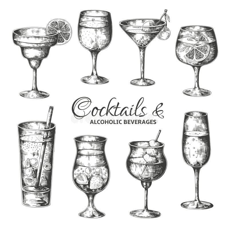 Cocktail tirados m?o Os vidros do vintage com licores e bebidas alcoólicas, verão bebem o menu do esboço Vetor tropical ilustração do vetor