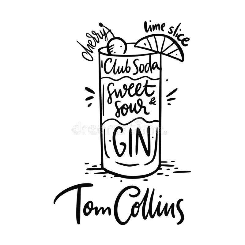 Cocktail Tom Collins ed i suoi ingredienti nello stile d'annata Illustrazione di vettore di tiraggio della mano illustrazione di stock