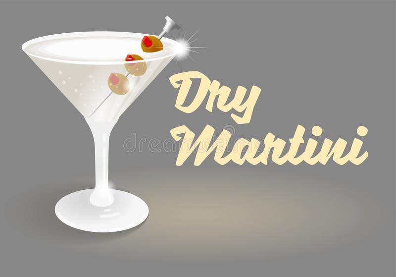 Cocktail trockener Martini stock abbildung