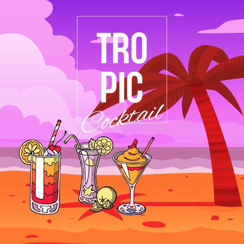 Cocktail tropicais na praia com a palma na ilustração do vetor das cores do por do sol Barra ou partido do cocktail na costa de m ilustração do vetor