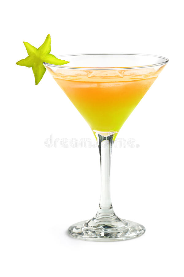Cocktail tropical avec la carambole images libres de droits