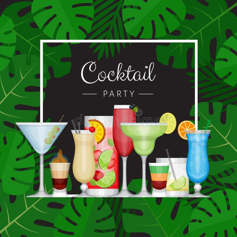 Cocktail tropical d'été avec des palmettes Affiche de cocktail illustration stock