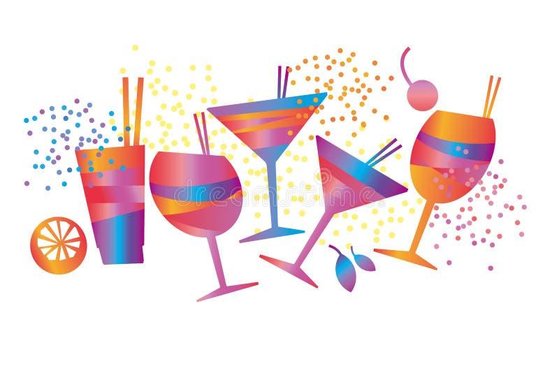 Cocktail tropicale variopinto geometrico minimo astratto illustrazione vettoriale