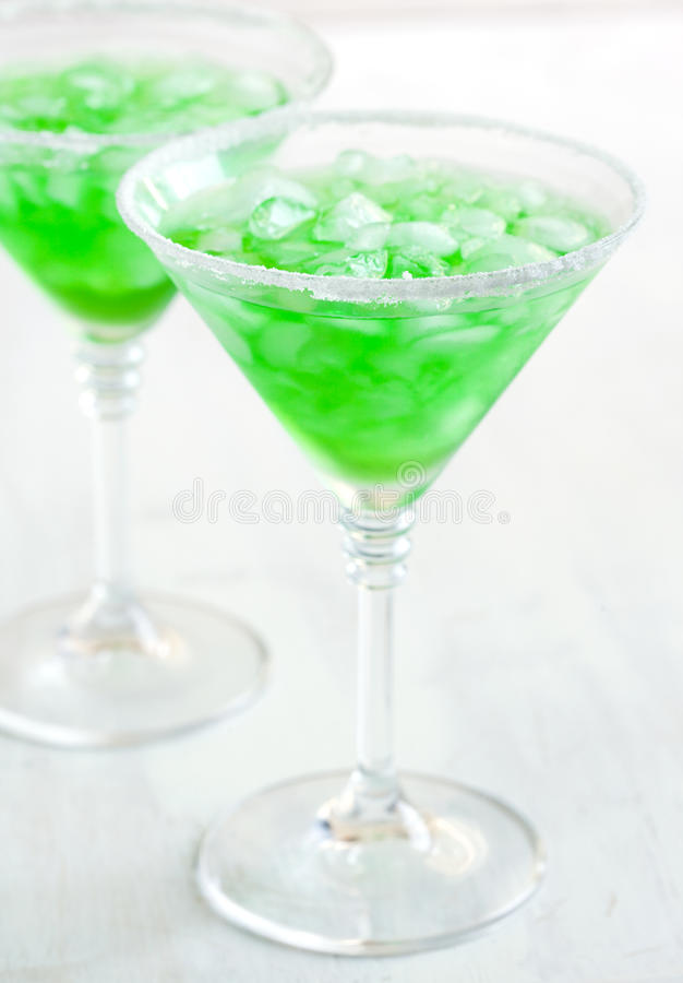Cocktail. Two Glasses of Green cocktail stock image