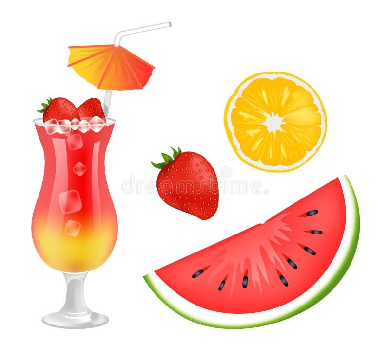 Cocktail-und Frucht-Sammlungs-Vektor-Illustration vektor abbildung